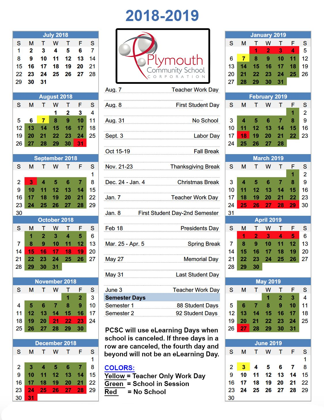2018 2019 Pcsc Approved Calendar Plymouthcsc In School Calendar