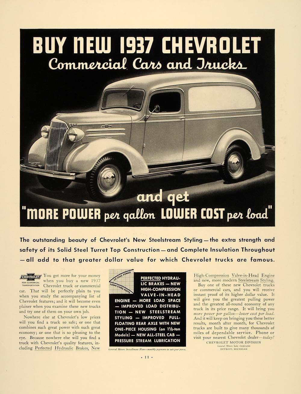 1937 Vintage Ad Chevrolet Commercial Cars Trucks Chevy - ORIGINAL ...