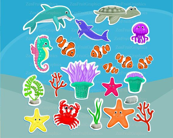 graphic relating to Printable Sea Animals known as Sea animal clipart Printable stickers Electronic by means of
