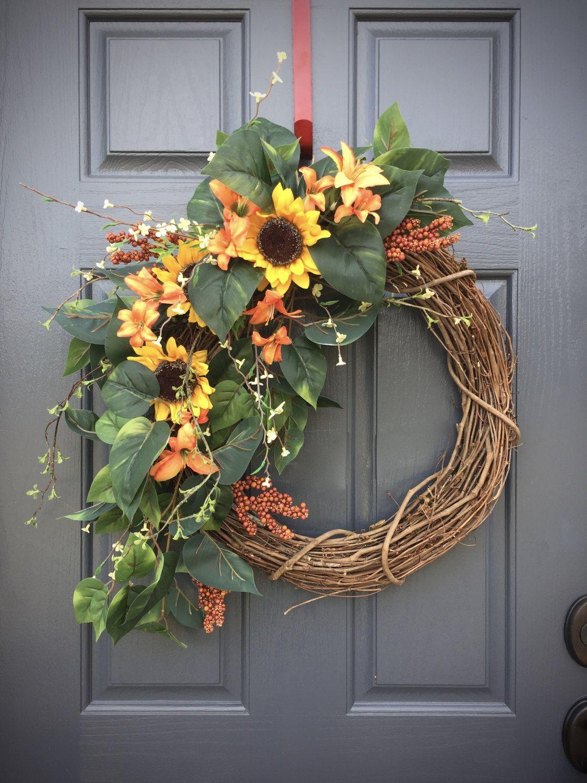 Sunflower Wreath, Spring Sunflowers, Spring Door Wreaths