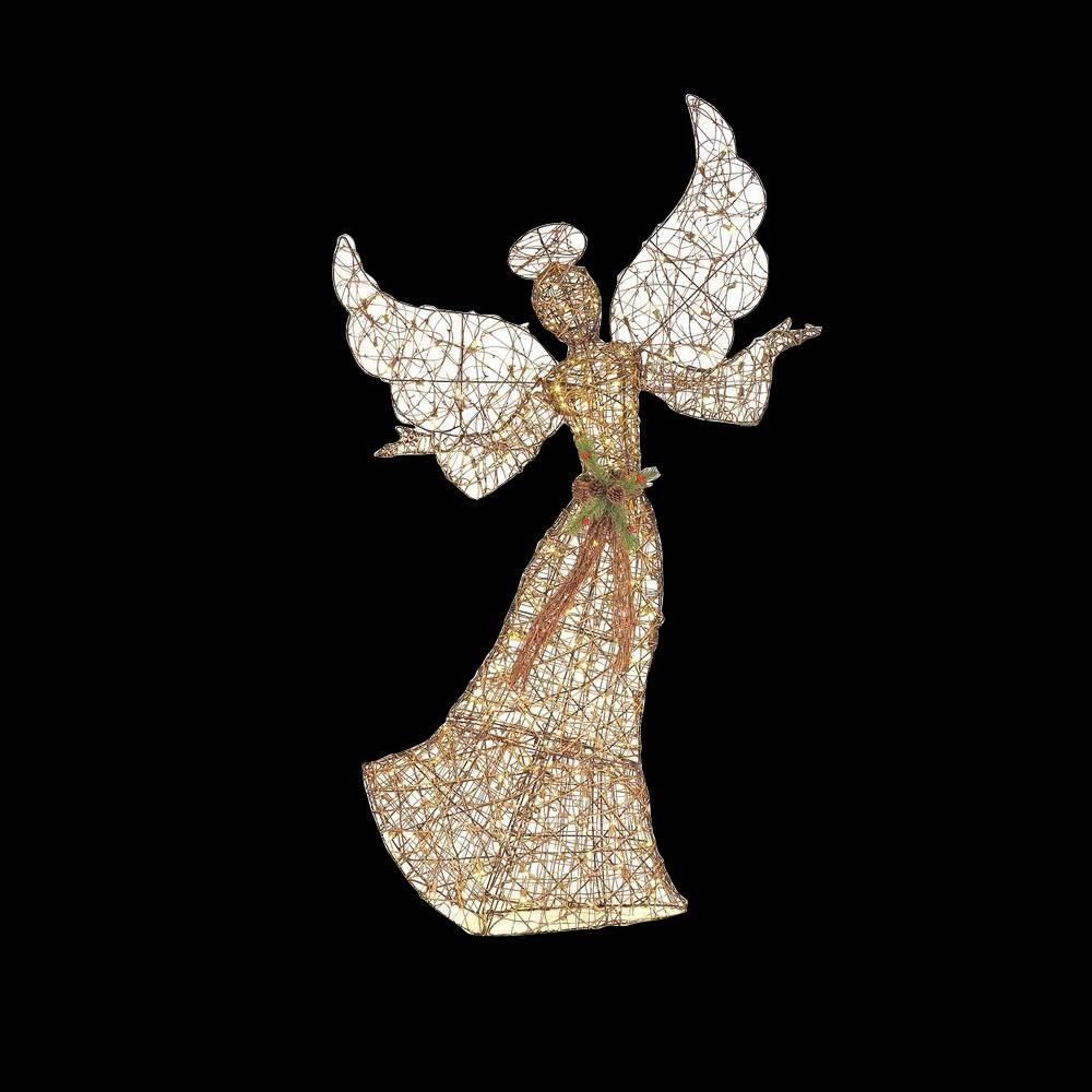 Home Accents Holiday 70 In. LED Lighted Brown Grapevine Angel With Open  Arms TY485