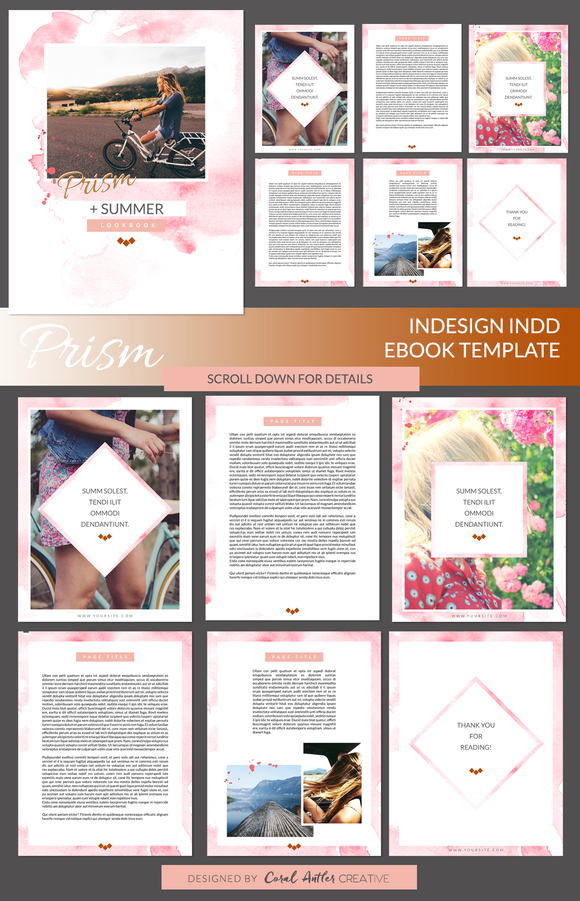 prism indesign ebook template by coral antler creative on