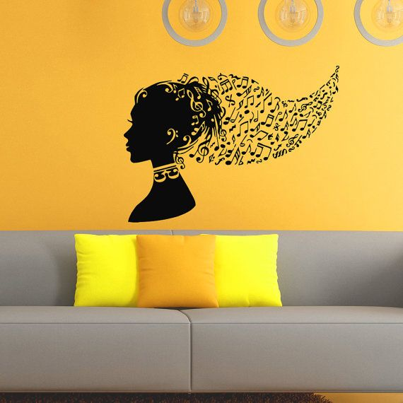 Music Notes Wall Decal Music Note Head Girl Hair Vinyl Wall Decals ...
