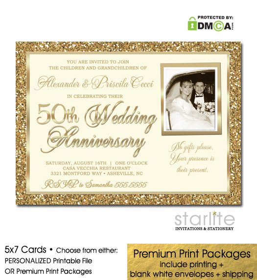 50th Wedding Anniversary Invitation Ideas: Gold Glitter 50th Wedding Anniversary Invitation Golden