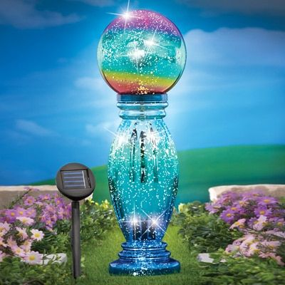 Glass Column Gazing Ball with Solar Light Garden Decor Pinterest