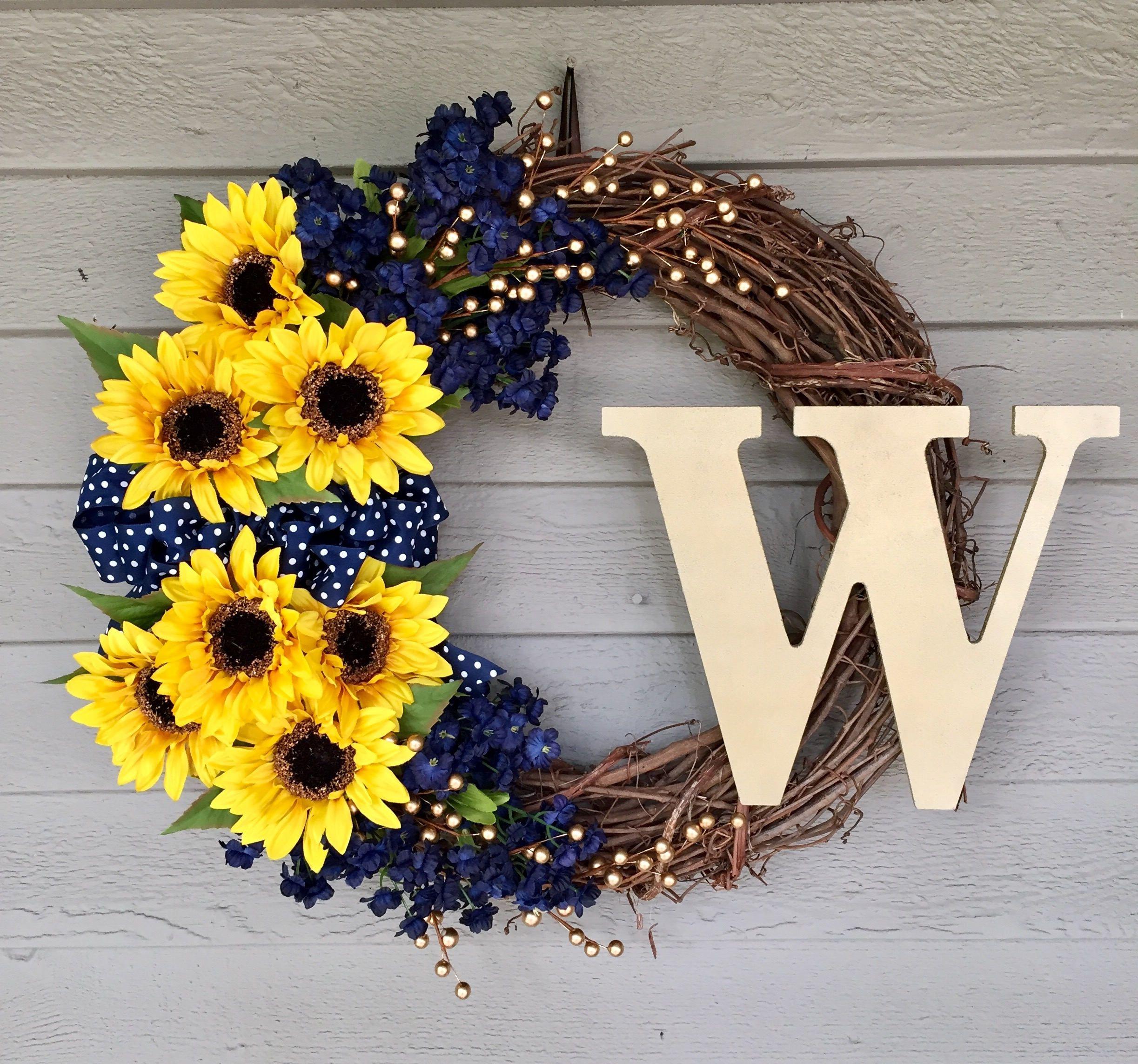 Photo of Yellow sunflower wreath – optional monogram initial – front door autumn wreath – summer wreath ideas – farmhouse style wreath – autumn wreath
