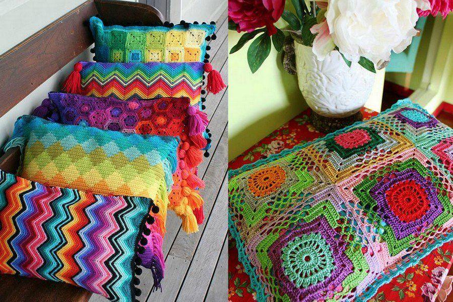 Шитые и вязаные подушки. Красивые идеи