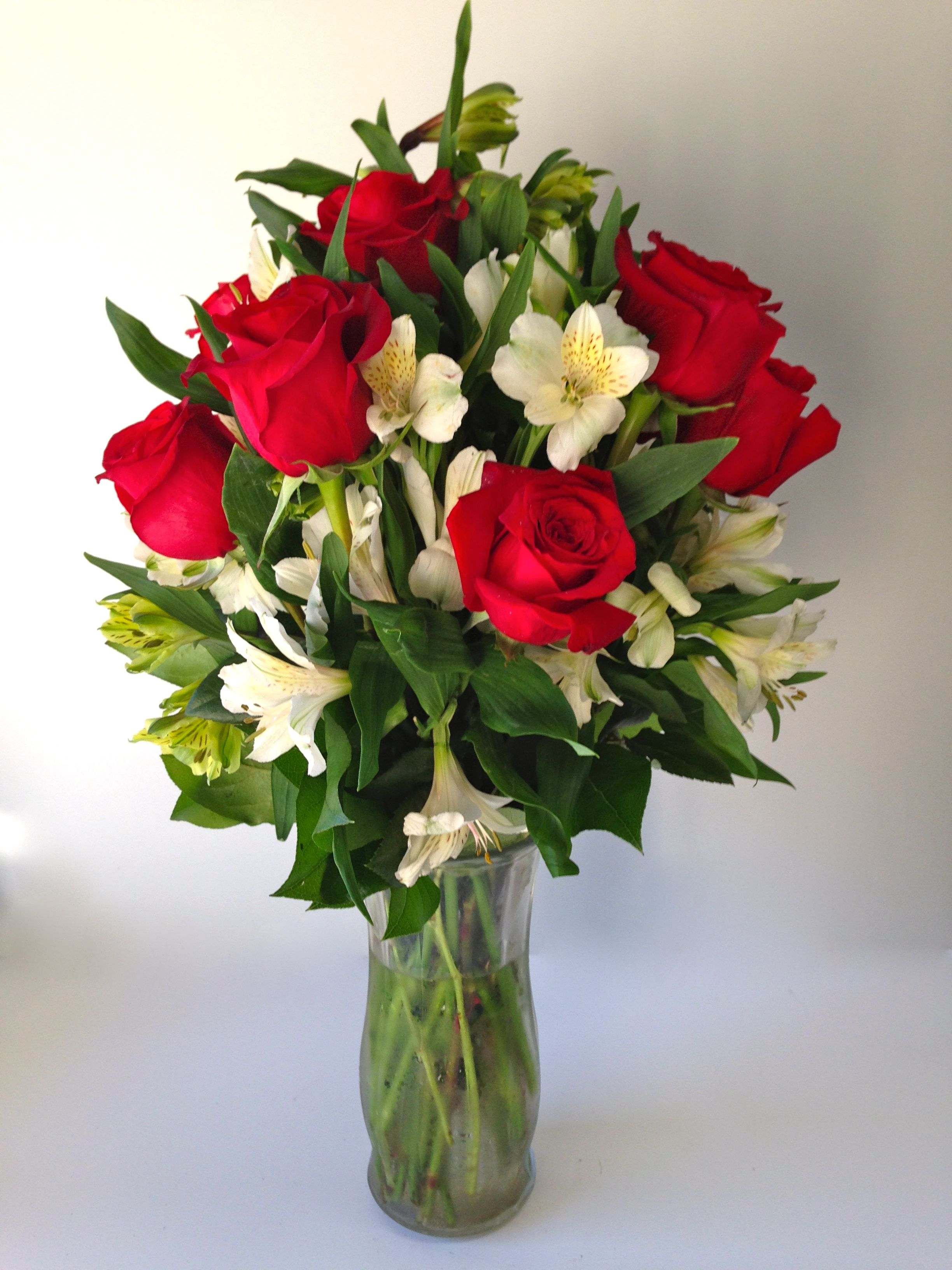 Valentine Flower Arrangement Holiday Roses Red White And Green