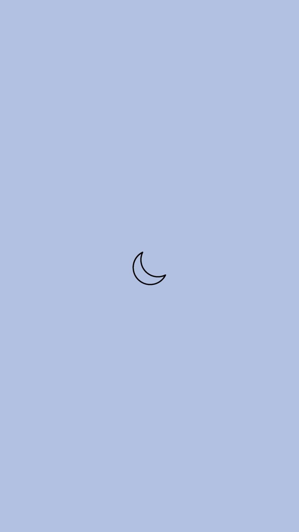 Photo of minimalistic moon blue phone background