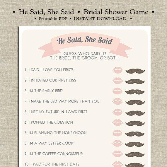 He Said She Said Printable Bridal Shower Game By Merrily