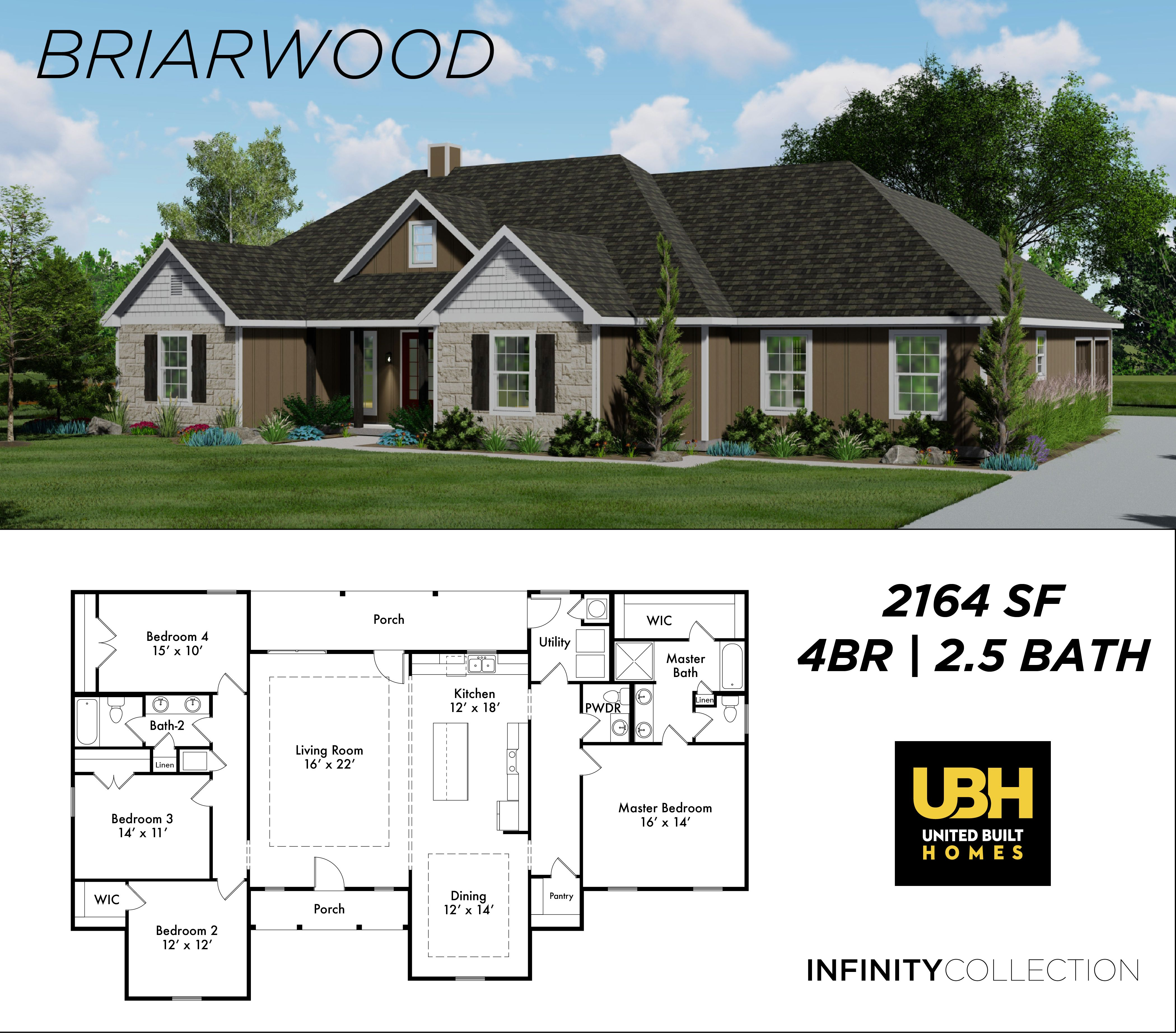 Our Briarwood Is A Beautiful 4bd 2 5 Bath Plan In Our New Infinity Collection Choose This Plan In The Style You Love Briarwood Custom Built Homes House Plans