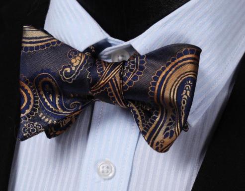 Dark Blue /& Gold Paisley Bow Tie