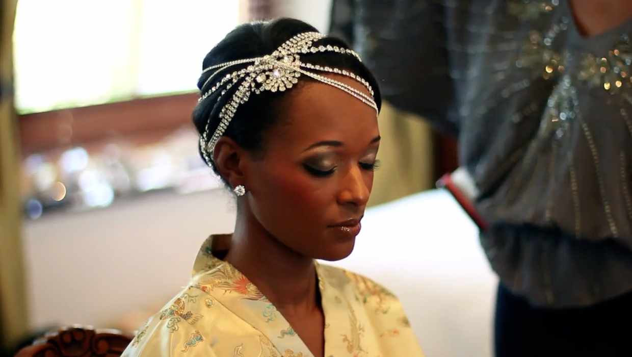 bling hair clips for bride, multicultural wedding video in south