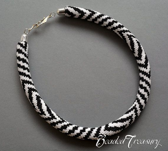 ZEBRA Bead crochet pattern Beaded necklace Seed bead necklace ...