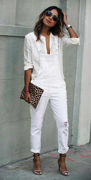 Pin By Lal On Fashion Pinterest White Overalls Overalls And