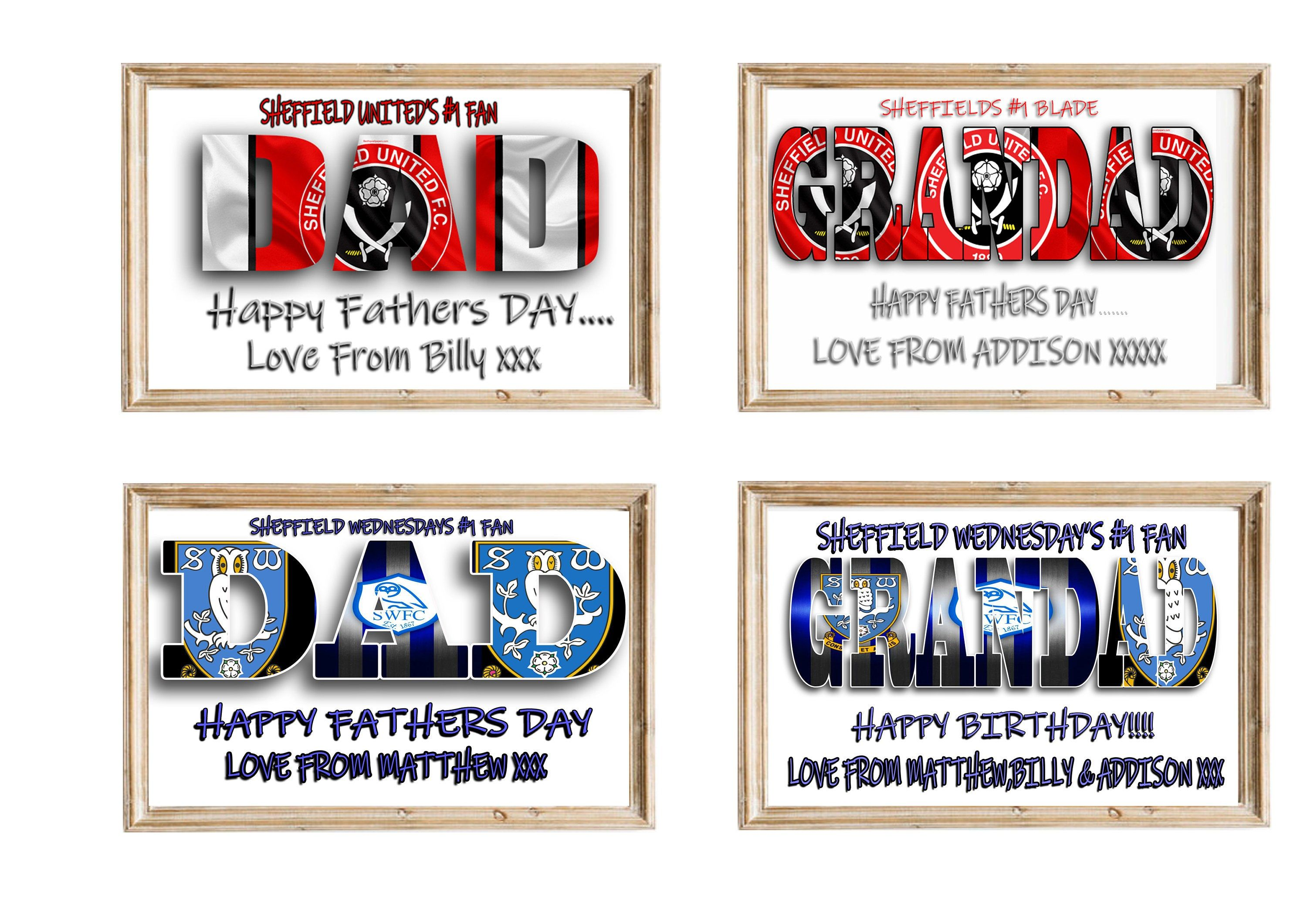 Personalised Football Picture Birthday Gift Present Print For Son Dad Daddy