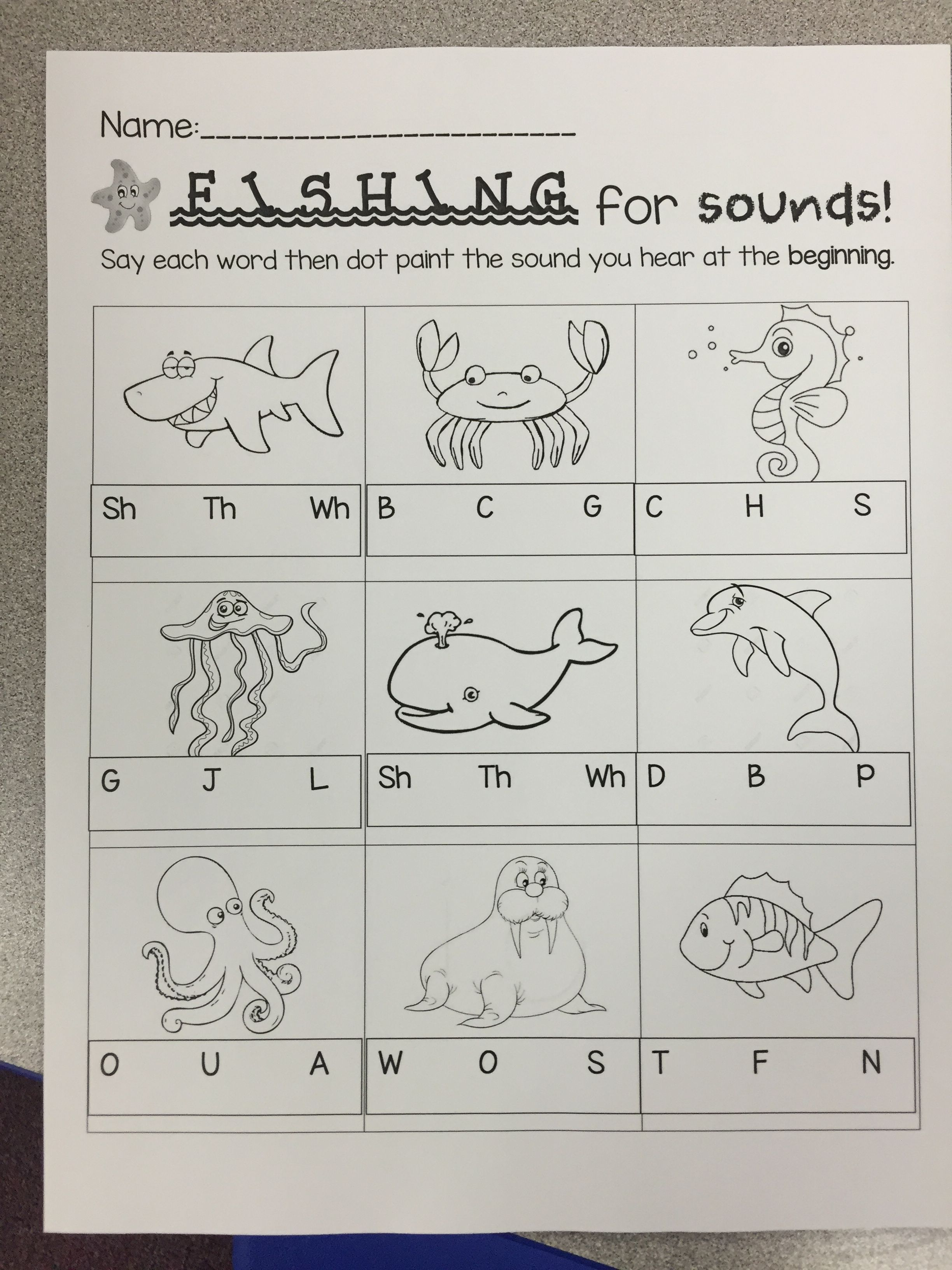 Fishing For Sounds Beginning Sounds Worksheet Ocean Theme