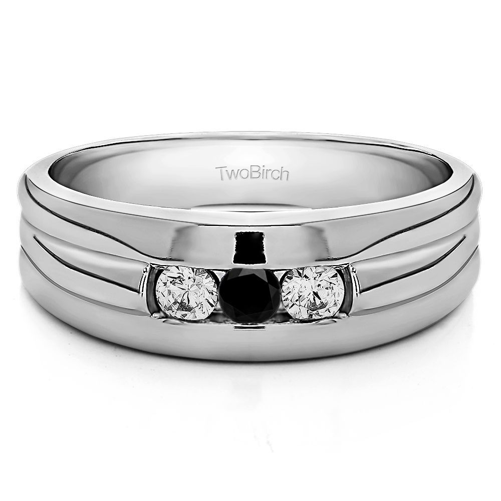 10k White Gold Three Stone Mens Wedding Ring With Black And Diamonds03 Cts