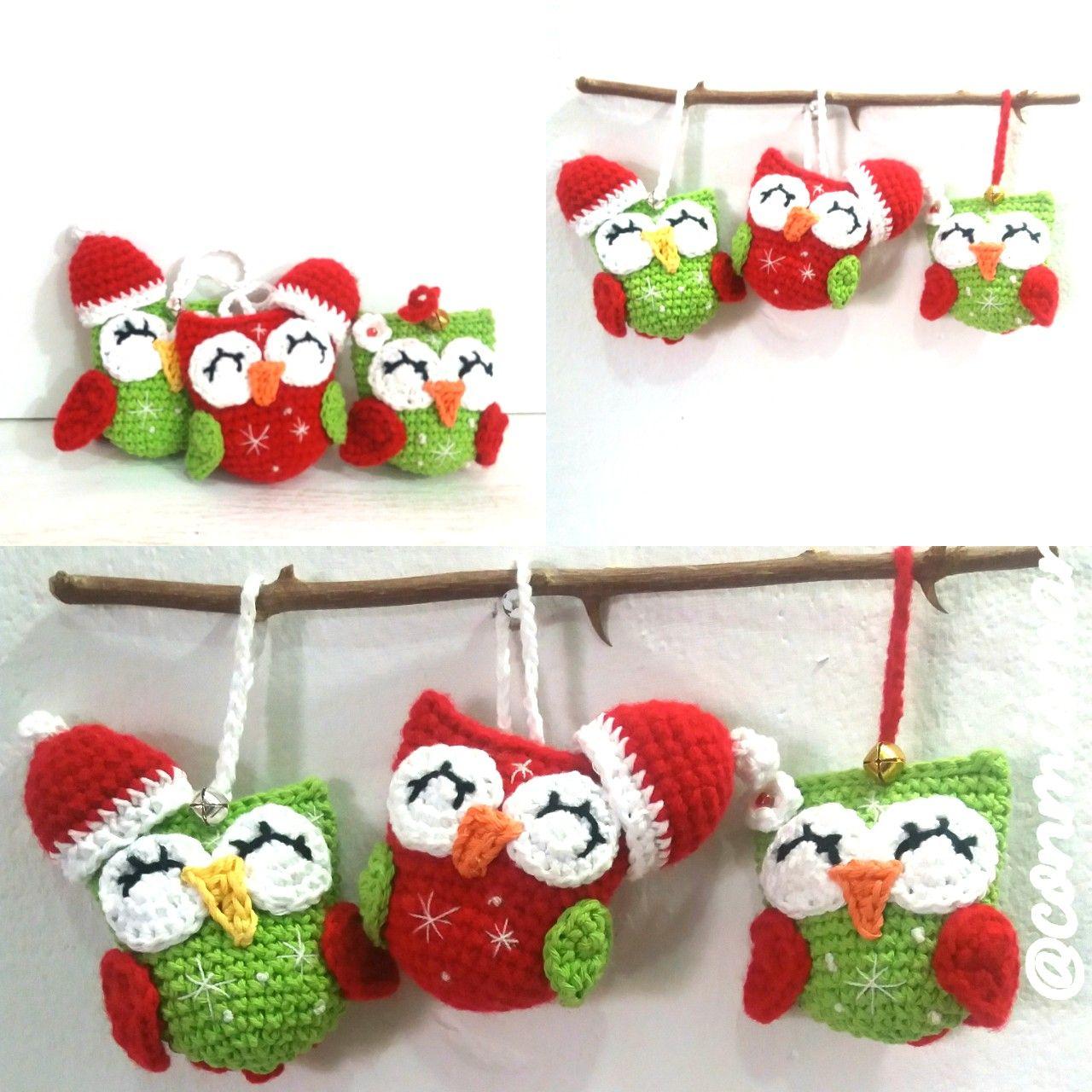 lechuzas o buhos navideños, lechuza amigurumi, lechuza crochet ...