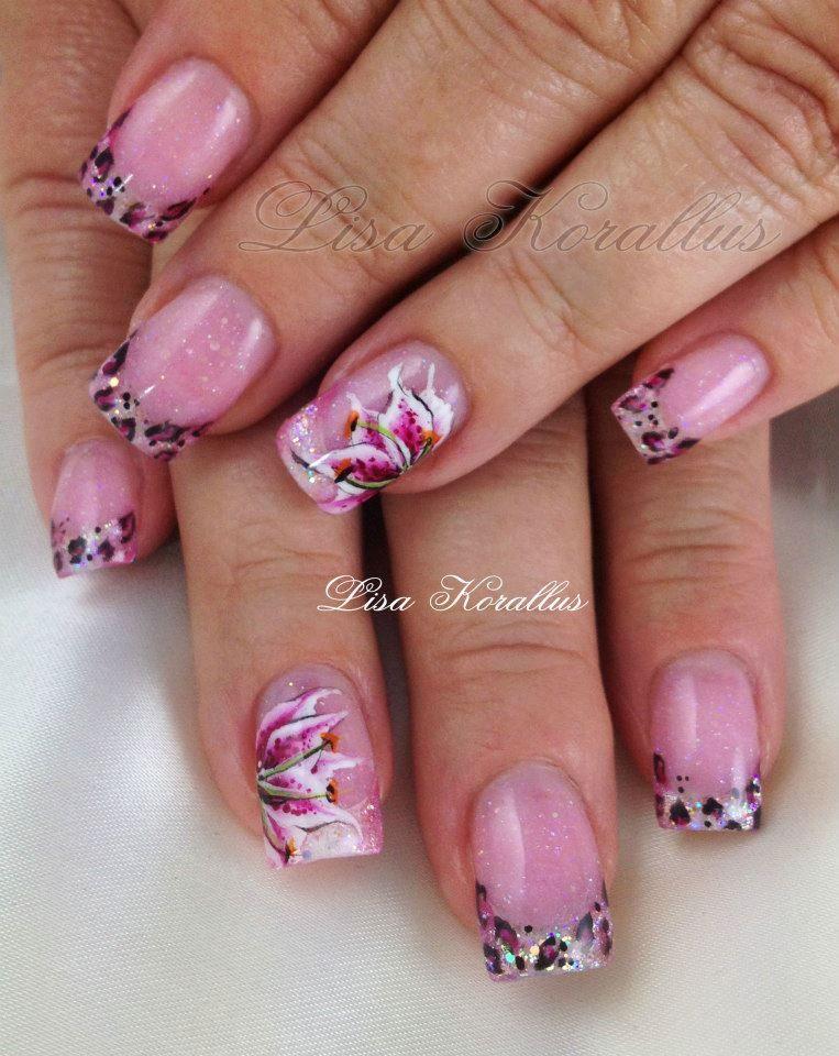 Sculpted Gel Enhancement With Hand Painted Stargazer Lily Flnaildesign Flnailart Roses Fl Handpaintedflowers Pinkandwhites Frenchnails
