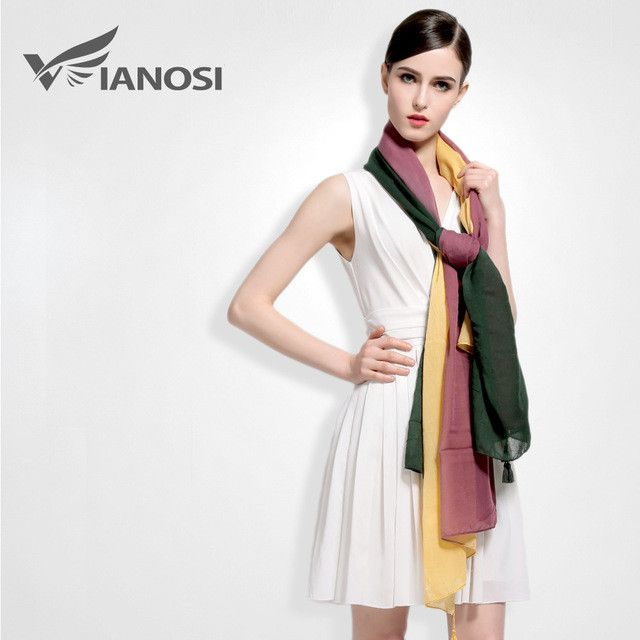 Photo of [VIANOSI]  Fashion Tassel Shawls and Scarves Gradient Color Design hijab High Quality Silk Scarf Luxury Brand Package VA027