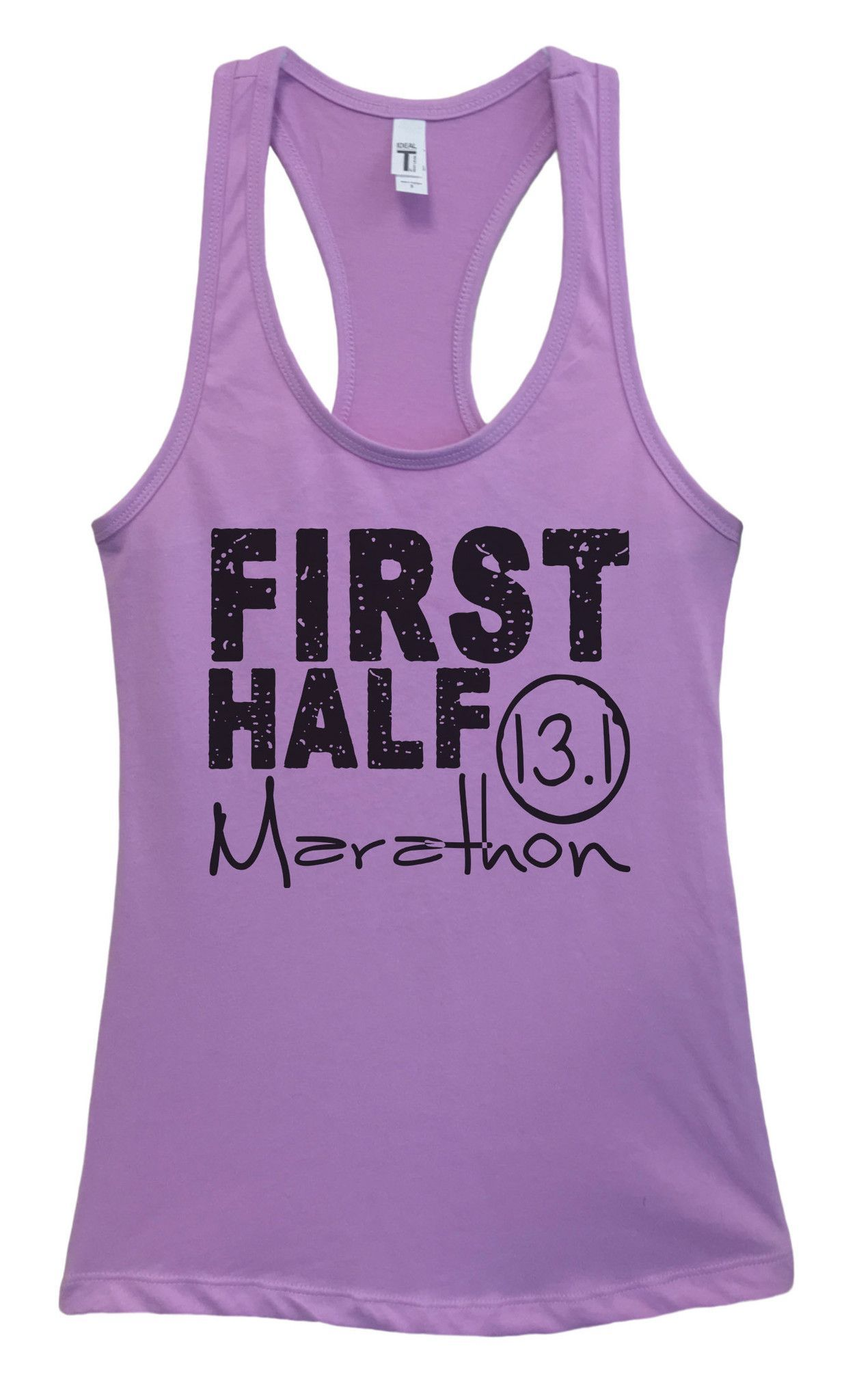 Womens FIRST HALF Marathon Grapahic Design Fitted Tank Top - Ideal1187
