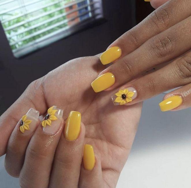 Cute Nails Acrylic Matte Beautiful Help 85 Sunflower Nails Short Acrylic Nails Yellow Nails