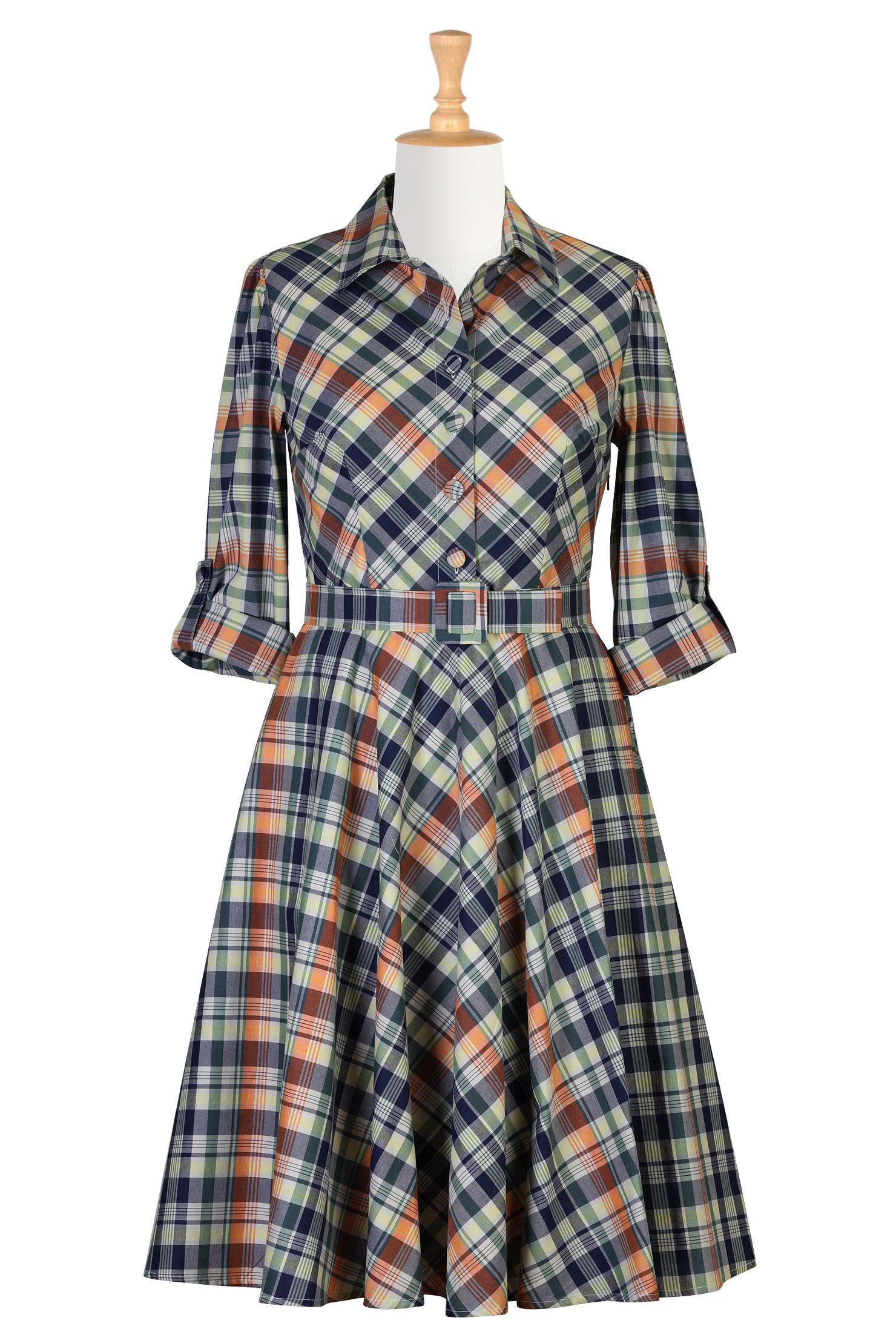 57862fdb7c7 Madras Check Cotton Shirtdresses