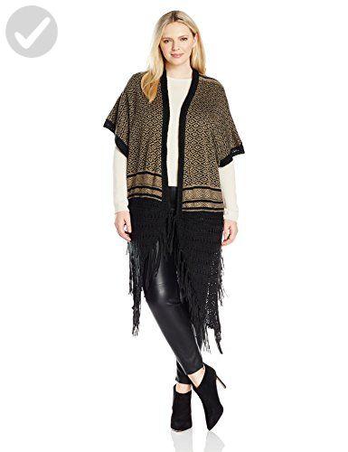 Blu Pepper Women's Plus Size Knit Cardigan with Fringe and Crochet, Black/Khaki, 1x - All about women (*Amazon Partner-Link)