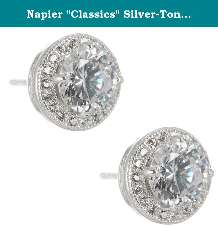 Napier Classics Silver Tone Round Cubic Zirconia Post Stud Earrings 10mm Cubic Zirconia Earrings By Napier Offe Jewelry Cubic Zirconia Earrings Shoe Jewelry