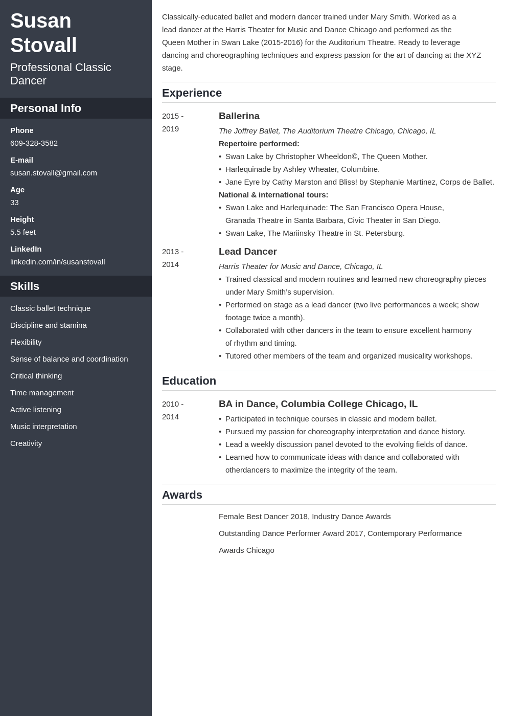 dance resume example template cascade in 2020 Dance