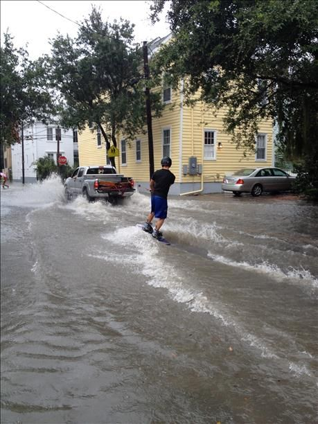Wakeboarding in the Charleston flooding!