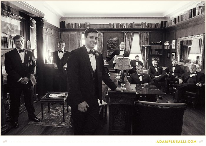 Keep it classic...groom with groomsmen in parlor, library, or bar. Wedding Photos for the Groom and Groomsmen.  Black and White. Planning by http://kendallpooleeventplanning.com/  Photo by www.adamplusalli.com