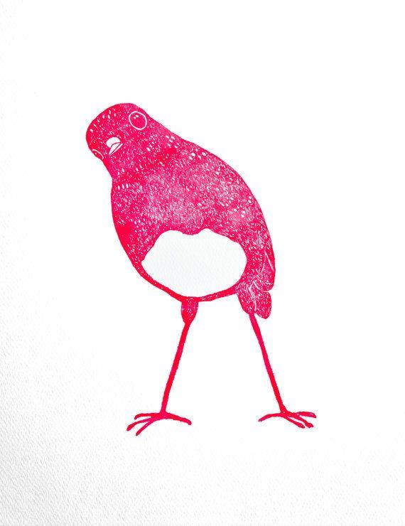 Pink Bird Letterpress Print