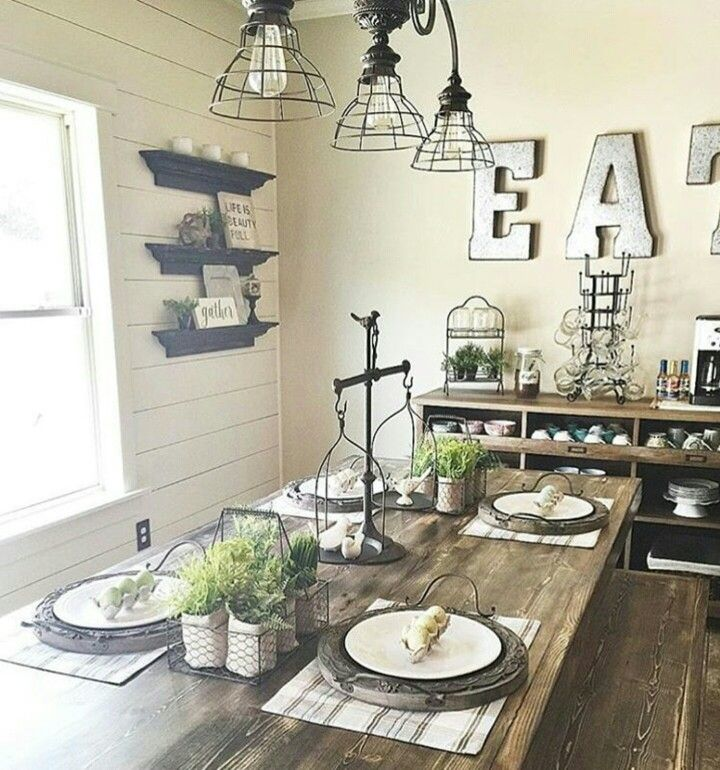 Industrial Farmhouse Living Room: Wrought Iron Scale Farmhouse Table Galvanized Letters