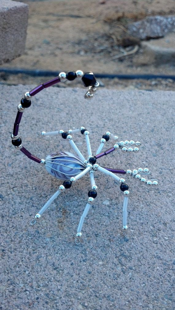 beaded scorpion purple white and silver by Natjerm on Etsy, $12.00