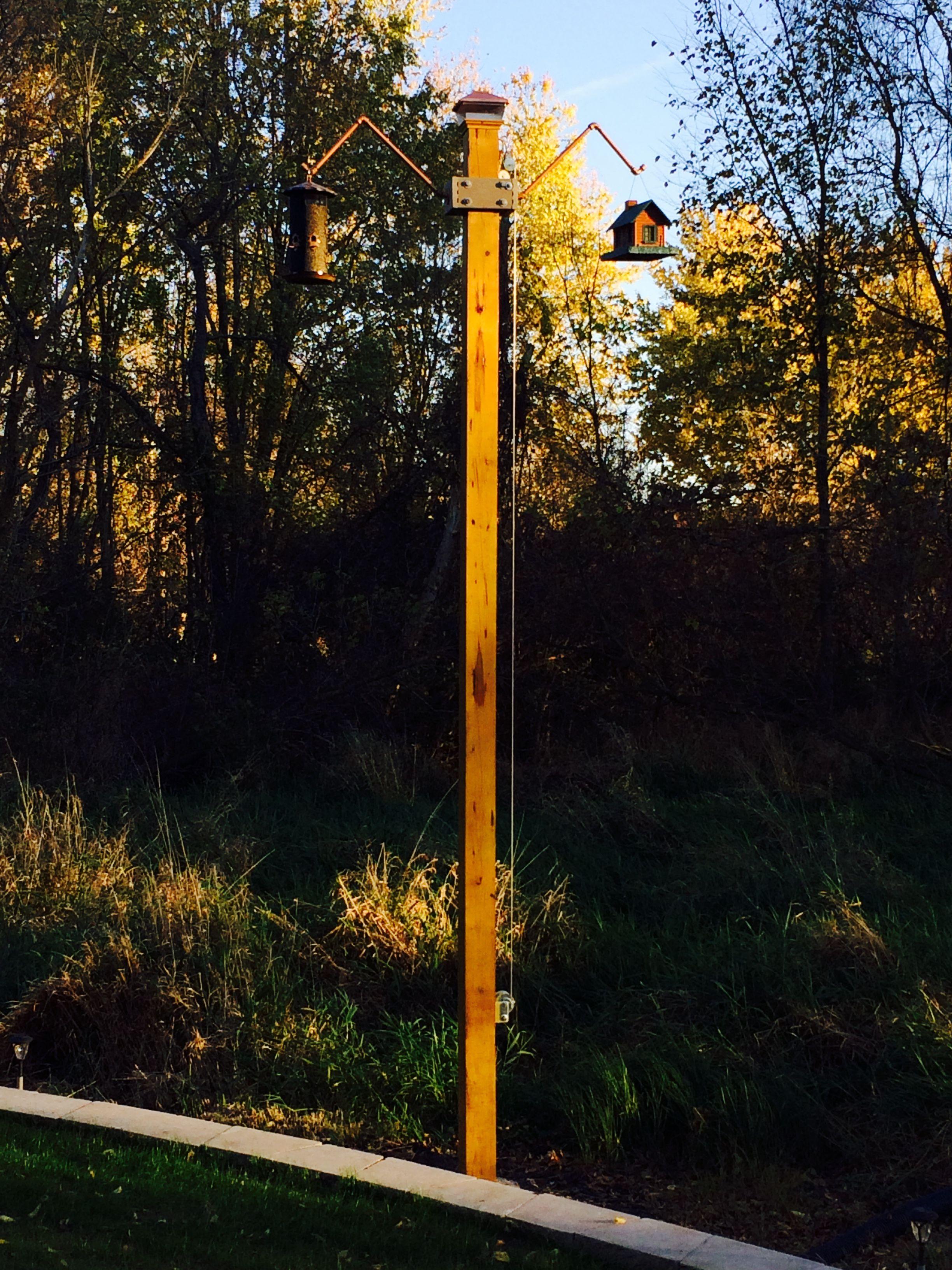 Bird Feeder On Tall 6x6 Post With Transom To Raise And Lower Bird Feeder Poles Bird Feeder Station Bird Feeders