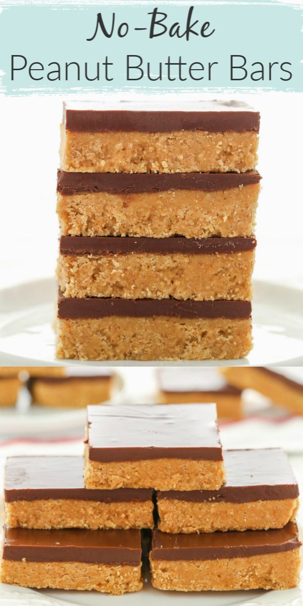 No-Bake Chocolate Peanut Butter Bars #peanutbuttersquares