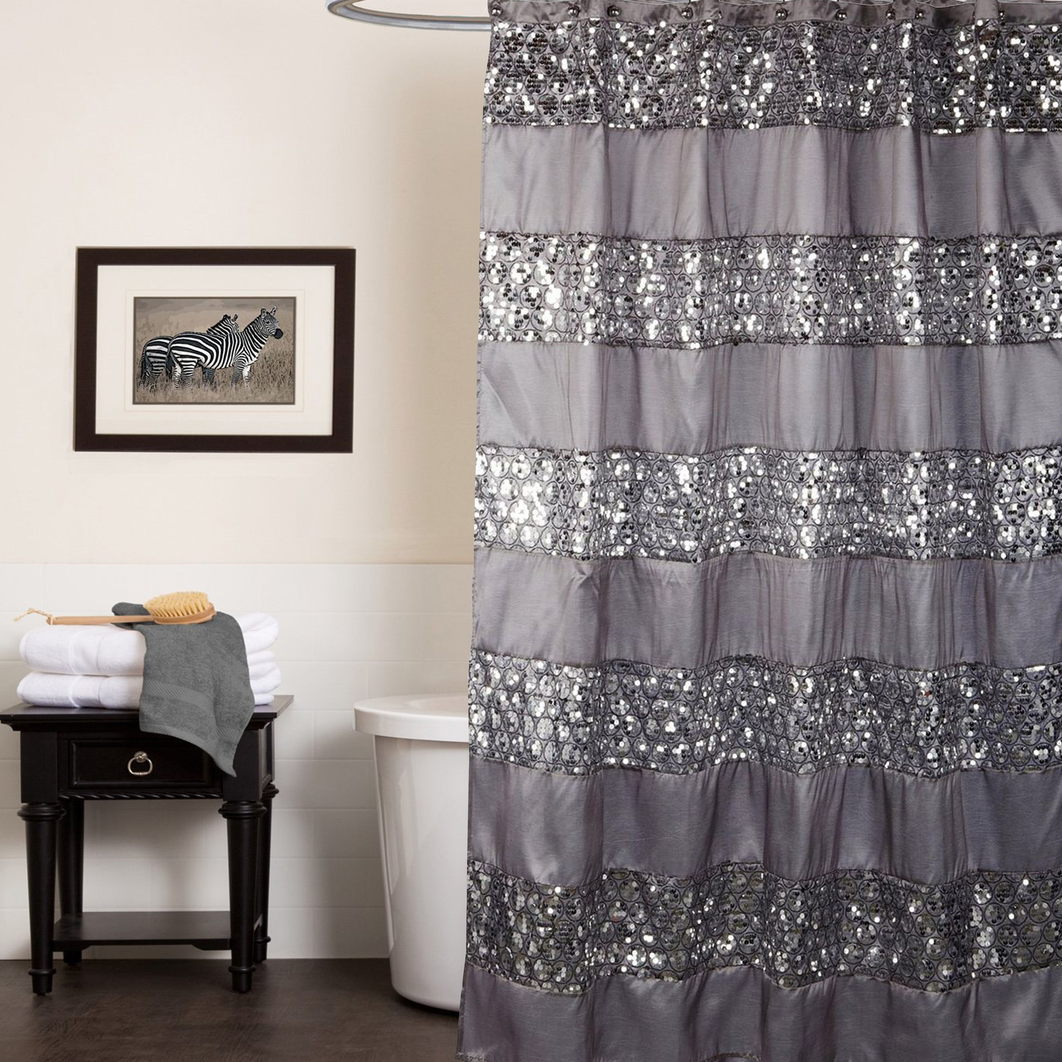 Home In 2020 Silver Shower Curtain Sequin Shower Curtain Bathroom Shower Curtains