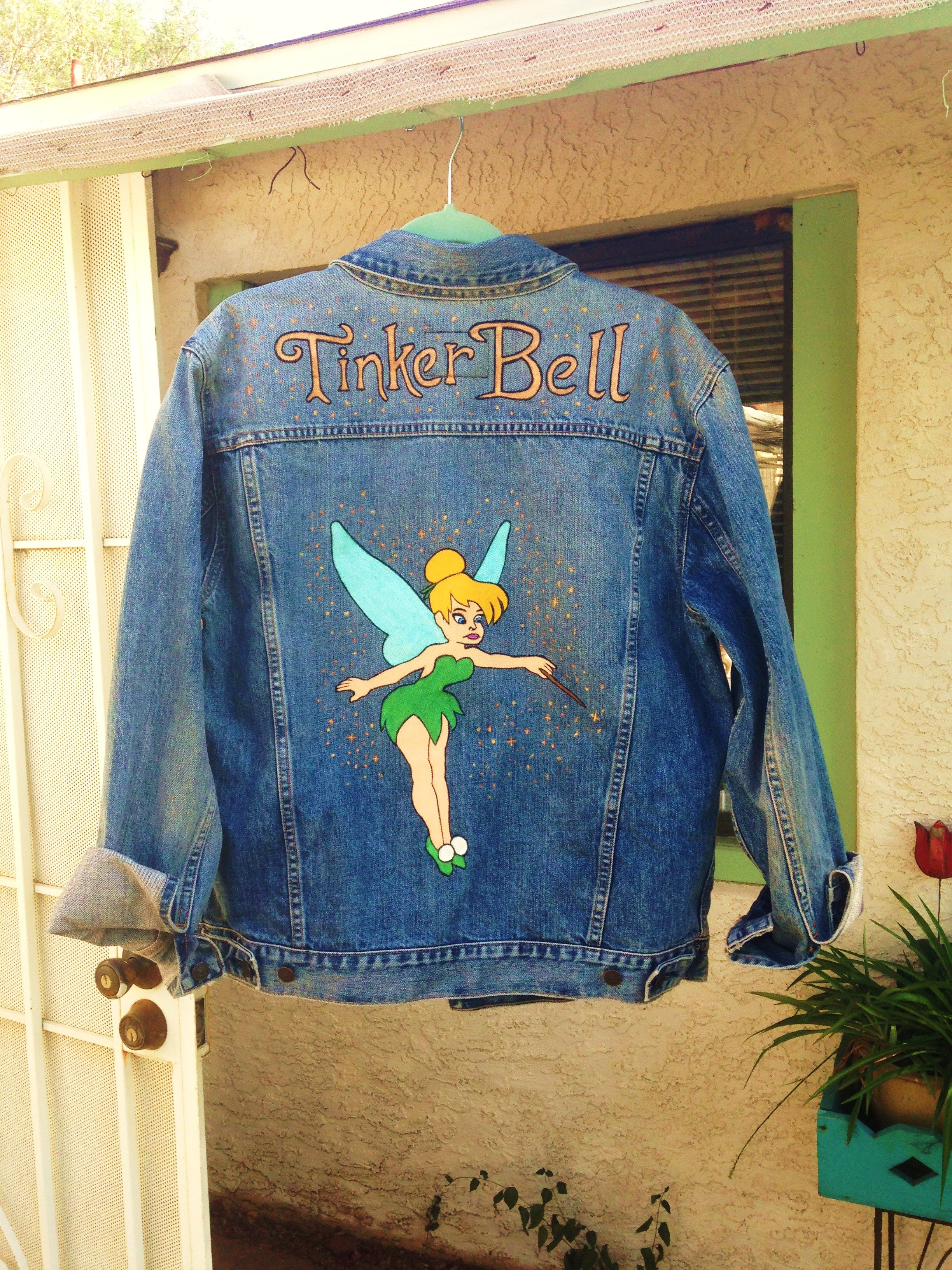 8956aad93 Tinkerbell custom painted on denim jacket by @bleudoor on Instagram #disney