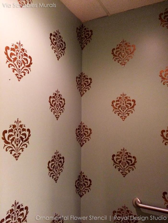 Decorative And Ornamental Flower Wall Stencils For Painting Classic Designs