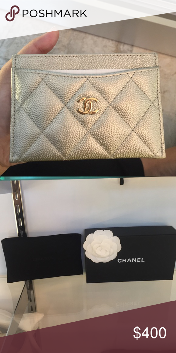 032f5154dbd1 Gold caviar with gold monogram Chanel card holder Caviar gold with gold  monogram Chanel cardholder. Comes with dust bag, box and everything you see  in the ...
