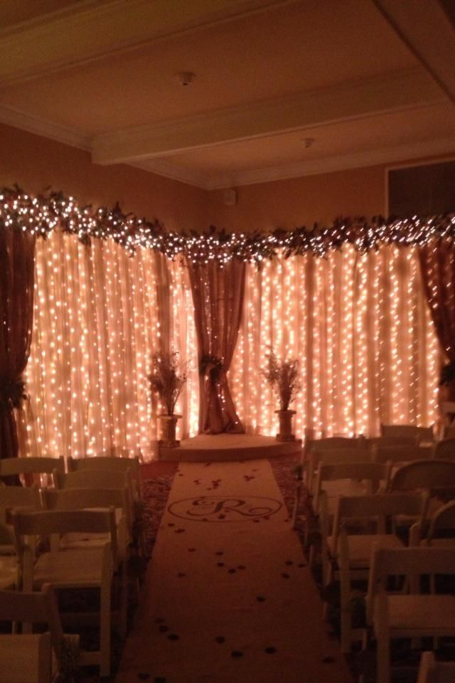 Wedding backdrop. Sheers, burlap, white lights | Burlap ...