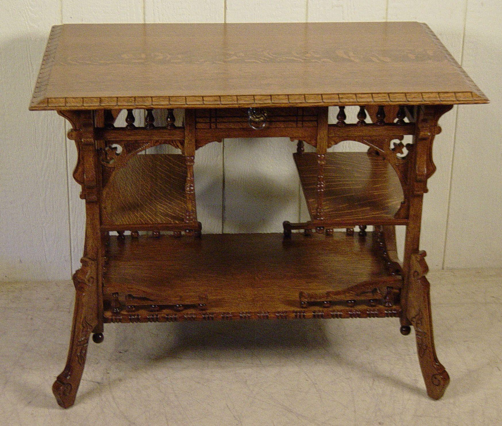 Great late victorian eastlake style oak lamp table antiques great late victorian eastlake style oak lamp table geotapseo Choice Image