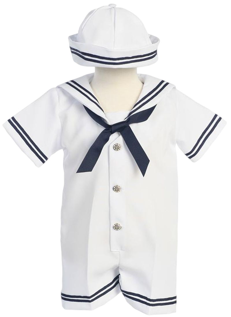 49d6d7aa918b1 Classic Nautical Romper Outfit White Gabardine with Dixie Cup Style Sailor  Hat (Baby Boys)