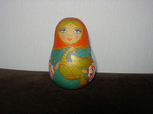 Vintage Soviet Russian musical tumbler Doll Nevalyashka Wooden Matreshka 1960s