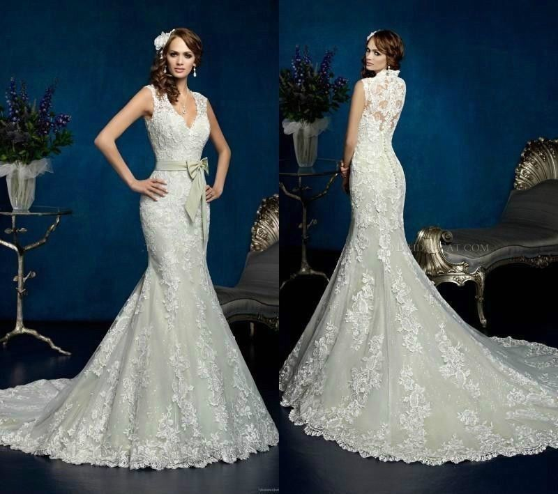White Ivory Lace Wedding Dress Bridal Gown Custom Size 2 4 6 8 10 12 ... 364086044519