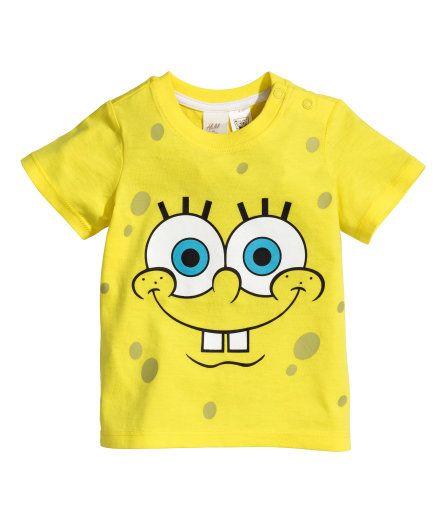 H M T Shirt With A Print 4 99 Camisas Familiares Bob Esponja Bob Esponja Fiesta