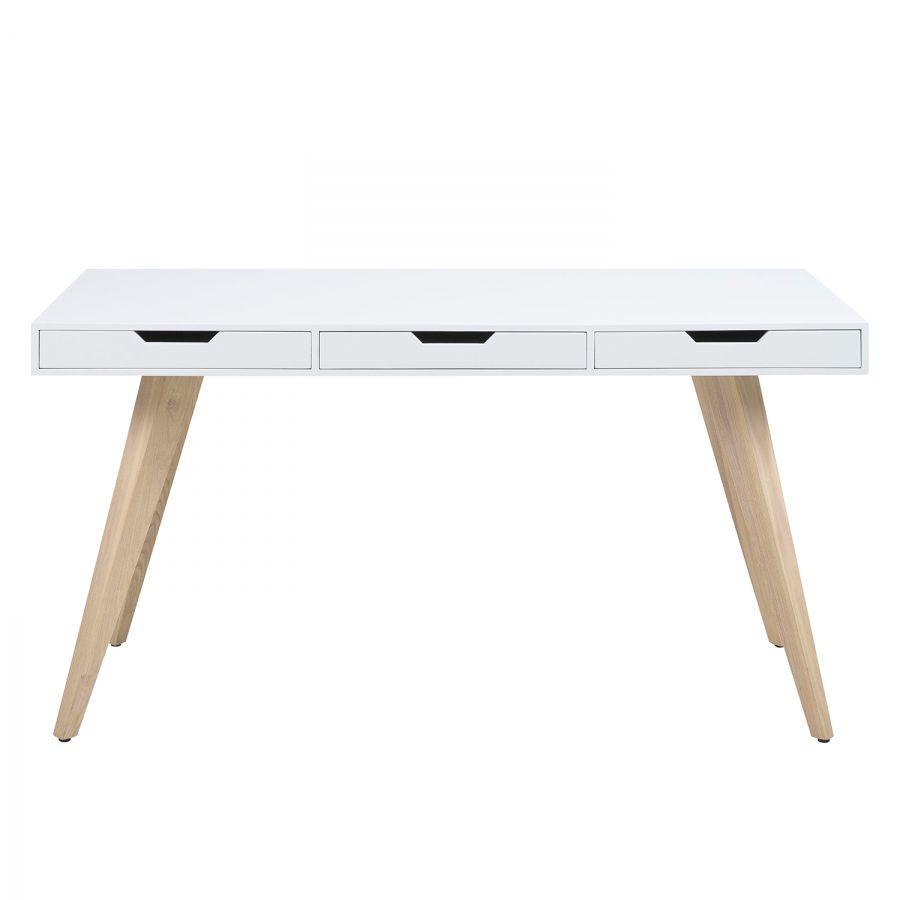 Schreibtisch Lanna Esche Teilmassiv Weiss Schreibtisch