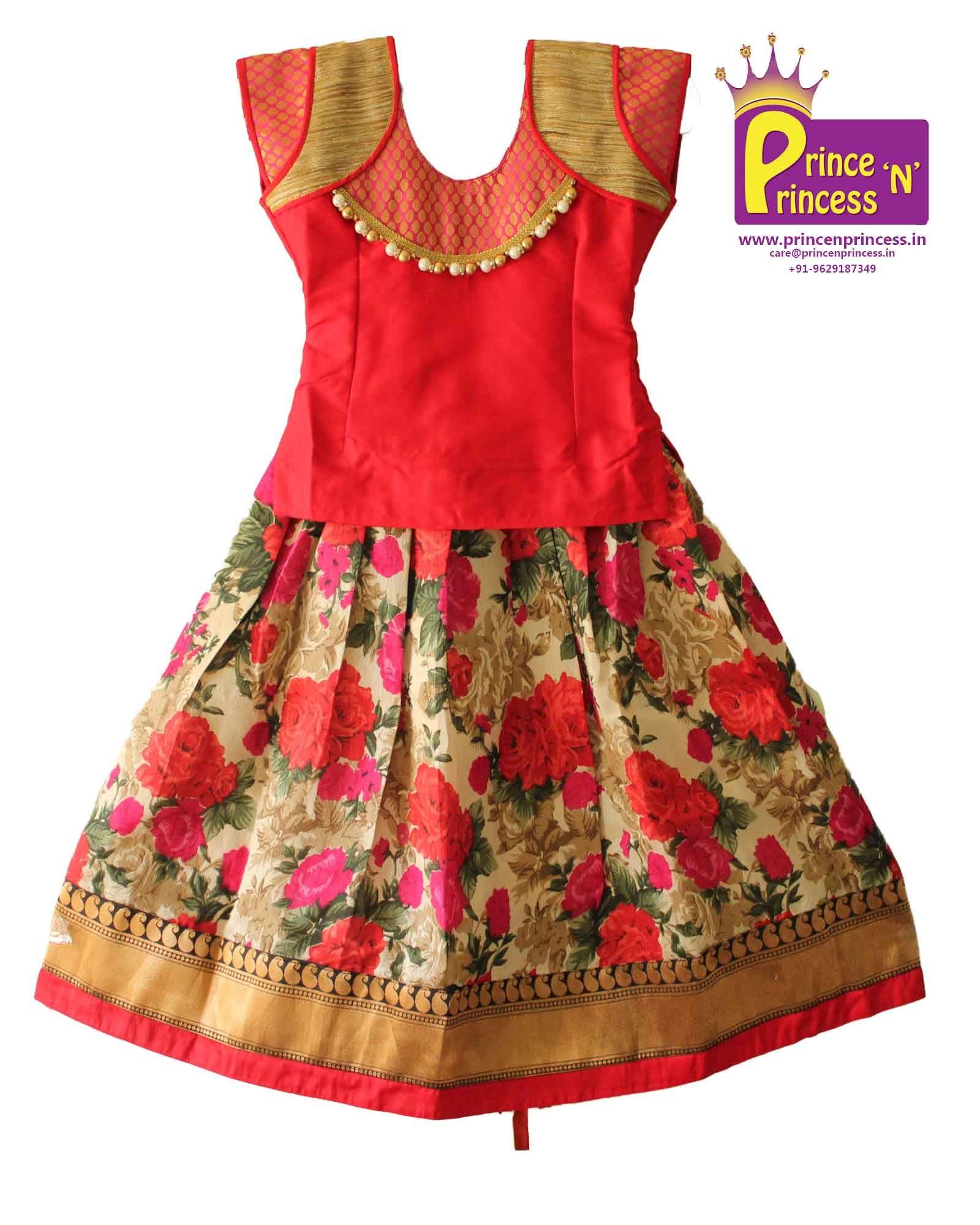 Saree blouse design pattu buy cute floral design pavadai sattai langa  beautiful skirt